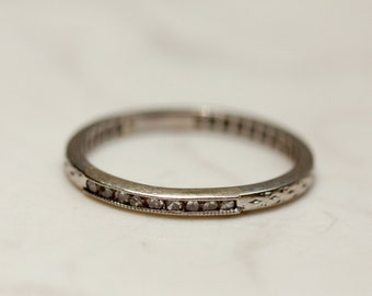 Vintage Midcentury 14k Solid White Gold Diamond Wedding Band Stacking Band Anniversary Thin Band, Size 7.5
