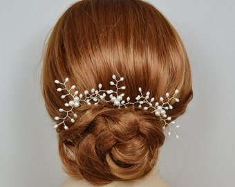 Bridal Hair Vine Pin Swarovski Pearls Freshwater Pearls Silver Gold Rose Gold Headpiece Wedding Jewelry - Will Ship in 3-5 Business Days