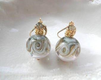 Gray Round  Murano Glass Earrings