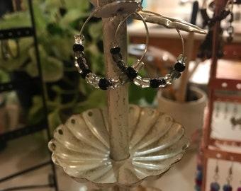 Grey and Black bead hoop earrings
