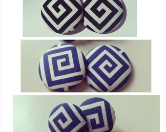 Black/White and Blue/White Greek Key Button Earrings