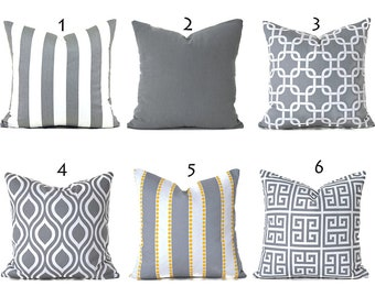 Pillow Covers Decorative Pillows ANY SIZE Pillow Cover Grey Pillow Covers You Choose