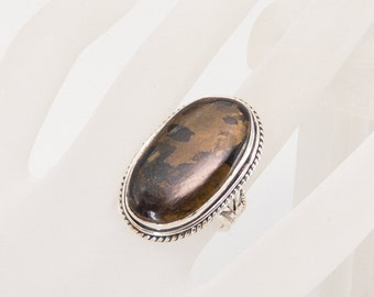 Bronzite and Sterling Silver Ring