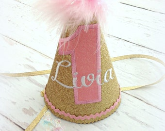 Girls first birthday hat - 1st birthday hat - gold and pink birthday hat - gold glitter hat - custom embroidered party hat