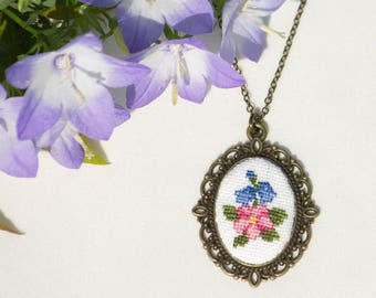 Hand Embroidered Floral Pendant Pink&Blue Necklace