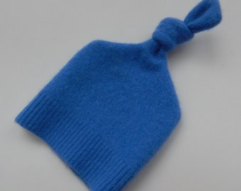 Recycled Blue Cashmere Baby Hat - 0-3 months