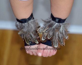 Boho barefoot sandals, feathered sandals, crib shoes, barefoot sandals, boho crib shoes, baby girl shoes, baby crib shoes, boho sandals