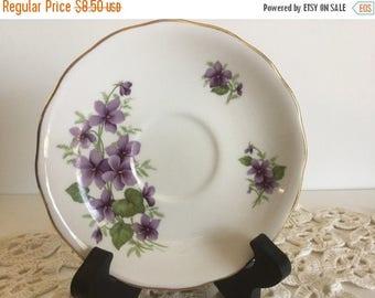 Sale Vintage Royal Vale England Bone China Saucer Plate Ring Dish Jewelry Holder Trinket Dish Ring Holder Purple Flowers