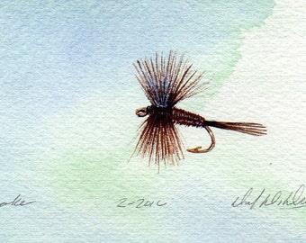 Fishing Art - Original Art - Watercolor - Drake - Dry Fly - Made in Michigan - Michigan Artist - Fly Fishing - Black Frame - Gift for Him