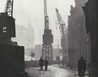 Bankside Near Southwark Bridge London vintage Print Black and white from photograph Vintage ephemera repurposed.