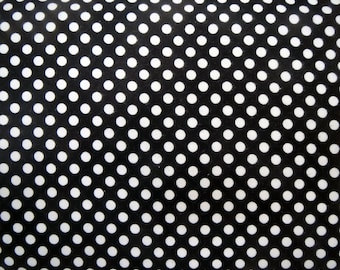 Flannel Fabric by the Yard in a Fun Black and White Polka Dot Print