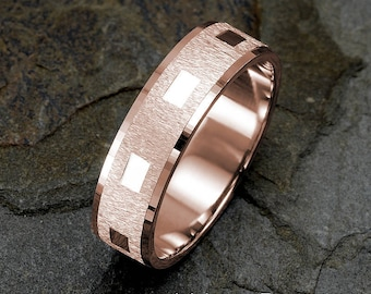 Rose Gold Wedding Band, 6mm width, Brushed Ring, mens & women's wedding Band, 14K Gold Ring, Mens Wedding Ring, Solid Gold Ring, Engraved
