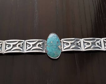 Turquoise .950 Sterling Silver Handcarved Bracelet Handmade.