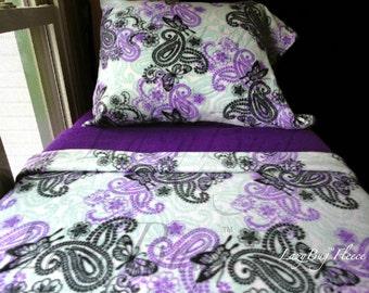 Purple Nursery Bedding 'Purple Butterflies' for Girls Handmade Kids Fleece Bed Set Fits Crib and Toddler Beds