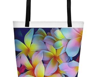 Hawaiian Tropical Plumeria Frangipani Multi-Color Beach Bag