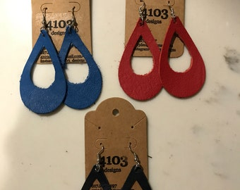 Leather cut out earrings