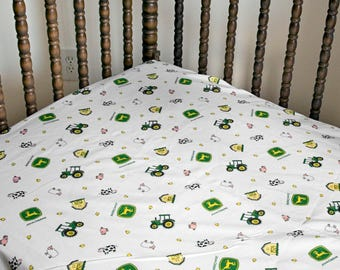 John Deere Tractor Crib Sheet with Farm Animals