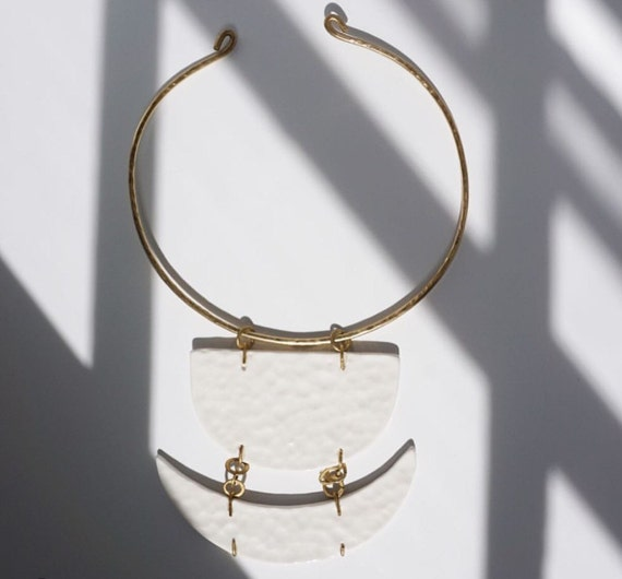 Brass Porcelain Hammered Necklace in White Elegant Minimal Statement Jewelry FREE Shipping to USA Made To Order