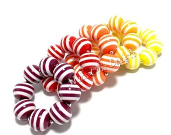 Toddler or Girls Striped Chunky bracelets - Dress up Bracelet - Maroon, Red, Orange, Yellow, Mustard Bracelet - Toddler Bracelet - Stripes