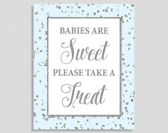 Babies Are Sweet Please Take a Treat Sign, Blue & Silver Glitter Confetti Shower Sign, Favor Sign,  INSTANT PRINTABLE