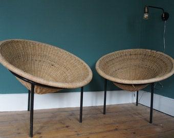 Mid century boho wicker cane hoop tub chairs
