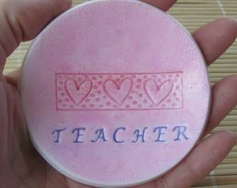 End of Year Teacher Gift - Little Pink Bowl - Jewelry Dish Paper Clip Holder Desk Accessory