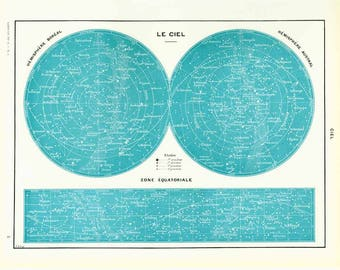 1933  Antique Sky Map Print. Vintage Astronomy. Southern Northern Sky Constellations