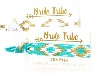 CUSTOM HASHTAG Bachelorette Hair Tie Favors | Boho Bachelorette Party Favors, Turquoise Bride Tribe Hair Ties, Bohemian Bachelorette Favors