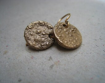 Another Texture for Bronze Disk Earrings - Bronze Earrings - Textured Earrings