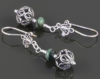 Genuine Emerald Earrings. Sterling Silver. Turkish Filigree. May Birthstone. Drop Earrings. s17e063