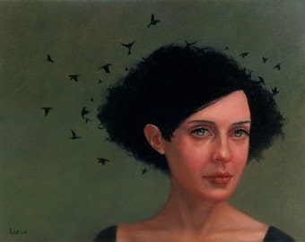 Raven Haired. signed Print of an Original Oil Painting