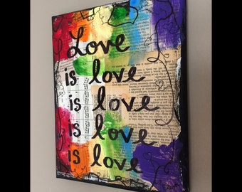 Gay pride art LGBT love is love music book painting original mixed media art sheet music vintage paper collage PRINT