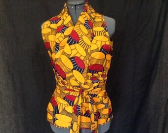 Wrap Top- African Wax Print Wrap Top-Spring Top-Summer Top- African Wrap Top