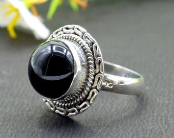 Natural Black Onyx Round Gemstone Ring 925 Sterling Silver R68