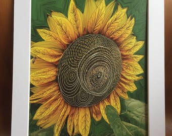Psychedelic Sunflower Print