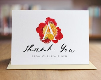 Personalized Thank You Note Card Set /  Watercolor Flowers Thank You Cards / Set of 10 Folded Shimmer Note Cards - T209