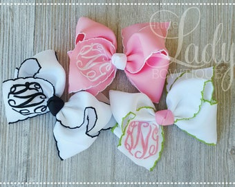 Moonstitch monogram hair-bow~personalized bow~embroidered hair-bow-hair bows for girls-baby bows-Easter bows-spring hair-bows-custom bows---