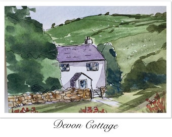 Landscape ORIGINAL Miniature Watercolour Devon Cottage, England rural ACEO Watercolor painting For him For her Home decor Wall art Gift Idea