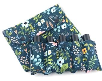 Essential Oil Pouch/ Essential Oil Roller Bottles Bag/ Essential Oil Roller Bottles Pouch/ Essential Oil Case/  Navy Herb Garden