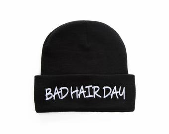 Bad Hair Day Beanie, Bad Hair Day Hat, Beanie Hats For Women, Embroidered Beanie, Beanies with Words