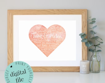 Personalised 1st ANNIVERSARY GIFT - Word Art - Printable - Paper Anniversary - 1st Wedding Anniversary - Gift for Husband - Gift for Wife