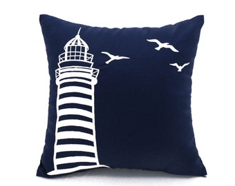 Lighthouse Pillow,Navy Blue Pillow,Linen Pillow,Embroidery Pillow, Sailing Decor, Nautical Pillow,Coastal Decor, Beach Decor,Cottage Pillow