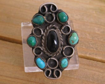 Vintage Turquoise and Black Onyx Sterling Silver Ring Size 9.5