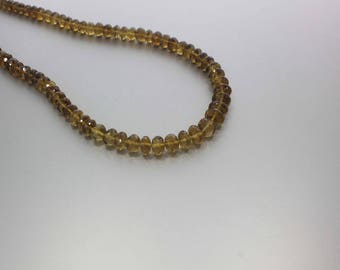 Cognac Quartz Faceted Rondelle Beads 7 to 10.5 mm AA Necklace for Women