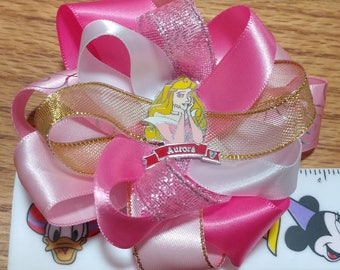 Sleeping Beauty Princess Satin Hair Bow with French Barrette Clip