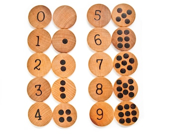 Number Match Educational Game / Wood Number Game / Learn To Count /Matching Game / Preschool Kindergarten Homeschool Activity / Montessori