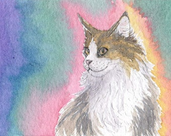 Cat thinking happy thoughts 8x10 art print Susan Alison