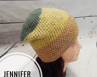 Women's Crocheted Slouchy Beanie in Green and Brown, Hats for Women and Teens, Winter Cap