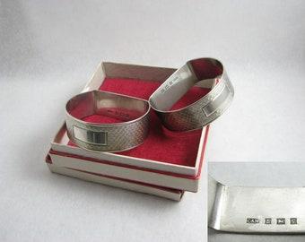 Crisford & Norris Ltd Sterling Silver Half Oval Napkin rings / Guilloche / engine turned pattern / 1956 Birmingham hallmarked / NO Initials