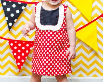 Minnie Inspired Red White Polka Dot A-line Dress Shoes Set Infant Outfit Satin Yello Baby Shoes